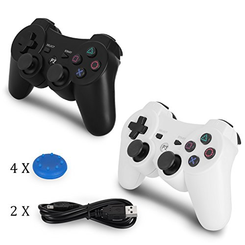 YU33 PS3 Controller Wireless 2 Pack - Dualshock 3 Games Remote for Playstation 3,Cheap DS3 Joystick with Sixaxis,Mini USB Charger Cable (White+Black)