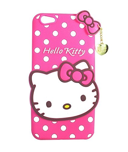 Explocart 3D Cute Hello Kitty Silicone with Pendant Soft Rubber Back Cover for Vivo V5 Plus - (Pink) 7