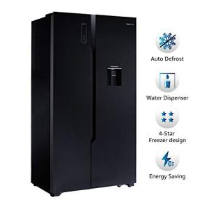 AmazonBasics 564 L Frost Free Side-by-Side Refrigerator with Water Dispenser (Black Glass Door)
