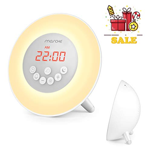 Sunrise Alarm Clock, Upgraded Wake up Light with Radio Digital LED Clock Soft Sleep Lights Simple Operation Big Screen Brightness Dimmer, Sunset Simulation & Snooze Function 6 Nature Sounds