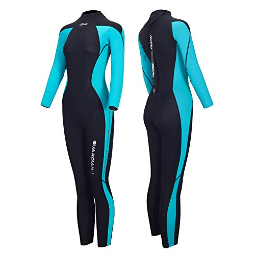 Hevto Wetsuits Lady 3mm Neoprene Long Sleeve Full Scuba Diving Suits Snorkeling Swimming Keep Warm Back Zip for Underwater Sports (Blue Women Ⅰ, S)