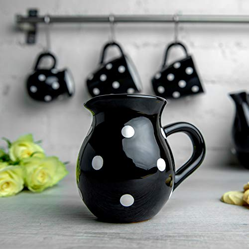 Black Polka Dot Small Milk Creamer Jug