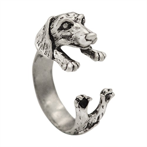 Women's Vintage Handmade Dachshund Dog Puppy Animal Wrap Rings Gift Fashion Jewelry (Antique Silver)