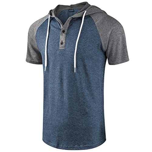 Moomphya Men's Jacquard Knitted Casual Short Sleeve Raglan Henley Jersey Hoodie T Shirt 1 🛒 Fashion Online Shop gifts for her gifts for him womens full figure