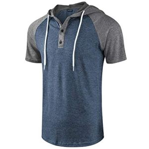 Moomphya Men's Jacquard Knitted Casual Short Sleeve Raglan Henley Jersey Hoodie T Shirt 15 Fashion Online Shop 🆓 Gifts for her Gifts for him womens full figure