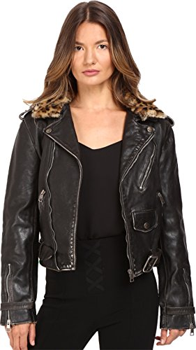 71tGBiAwwkL Put your wild side on display in the retro Just Cavalli™ Leather Moto Zip with Cat Accent Runway Jacket. Shearling lined notched collar with asymmetrical front zip closure. Long sleeves feature seamed elbow patches and zip snap cuffs.