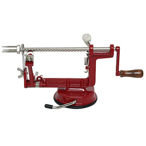 Johnny Apple Peeler with Suction Base, Stainless Steel Blades, Red Cast Iron Body | Apple Slicer, Corer, Parer and Pie Maker VKP1010