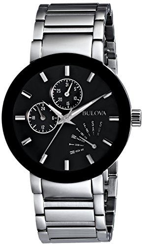 41lJCNp88WL Round watch featuring black metalized rim and black dial with three subdials for day, date, and 24-hour functionality 40 mm stainless steel case with slightly domed mineral dial window Japanese quartz movement with analog display