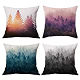 Hidecor Forest Tree Throw Pillow Covers Nature Pillow Case Cotton Linen Rustic Cushion Cover for Sofa Couch 18x18 Set of 4