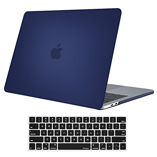 ProCase MacBook Pro 13 Case 2018 2017 2016 Release A1989 A1706 A1708, Hard Case Shell Cover and Keyboard Skin Cover for Apple MacBook Pro 13 Inch with/Without Touch Bar and Touch ID -Darkblue