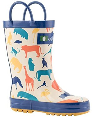 OAKI Toddler Rain Boots – Kids Rain Boots for Girls & Boys – Waterproof Rubber Boots w/Easy-On Handles