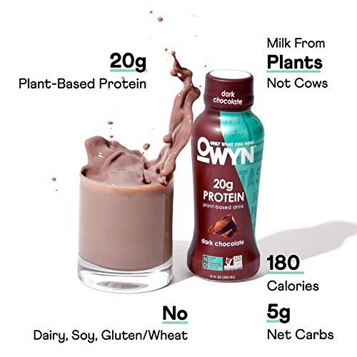 OWYN - 100% Vegan Plant-Based Protein Shakes | Dark Chocolate, 12 Fl Oz (Pack of 12) | Dairy-Free, Gluten-Free, Soy-Free, Tree Nut-Free, Egg-Free, Allergy-Free, Vegetarian 3