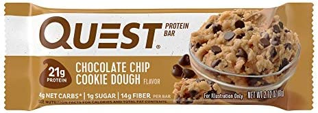 Quest Nutrition Chocolate Chip Cookie Dough Protein Bar, High Protein, Low Carb, Gluten Free, Soy Free, Keto Friendly, 12 Count 6