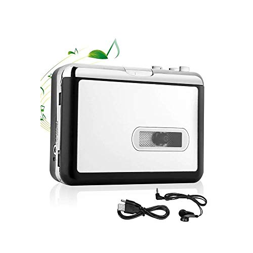 Cassette Player Tape to MP3 Converter via USB Retro Walkman Auto Reverse Portable Audio Music Tape Player with Earphones, No Need Computer by KALULI (White)