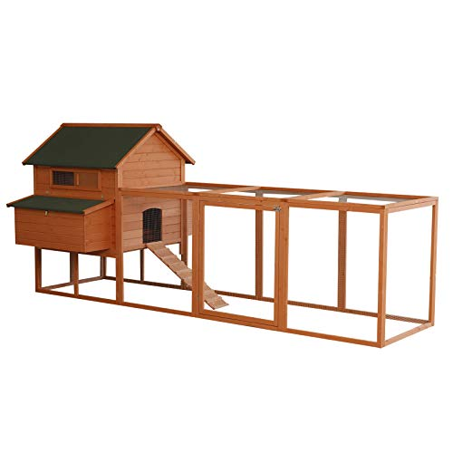 PawHut XL Solid Wood Deluxe Outdoor Lockable Chicken Coop Kit with Nesting Box and Run
