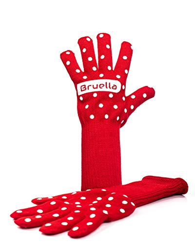 Bruella Women's Kitchen Red Oven Mitt Gloves with Silicone | Extra Long Sleeves to Prevent Forearm Burns | Heat Resistant to 932°F / 500°C