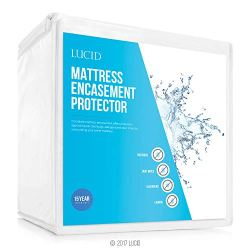 LUCID Encasement Mattress Protector – Completely Surrounds Mattress for Waterproof, Allergen Proof, Bed Bug Proof…