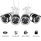 Outdoor Security Camera, 1080P Outdoor Surveillance Cameras with FHD Night Vision, Motion Detection, Two-Way Audio, IP66 Waterproof, Wired or WiFi Outdoor Camera, Cloud Storage(4 Pack)