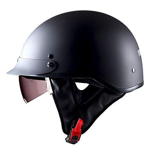1STorm Motorcycle Half Face Helmet Mopeds Scooter Pilot with retratable Inner Smoked Visor, Matt Black