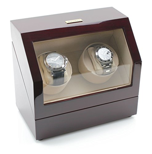 Heiden Battery Powered Double Watch Winder in Cherrywood