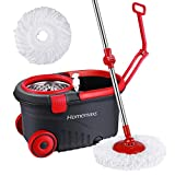 Homemaxs Newest 2019 Spin Press Mop Bucket, Spin Self-Wringing Mop and Bucket with Wheels - Extended Length Adjustable Mop with 2 Extra Microfiber Mop Heads - Black