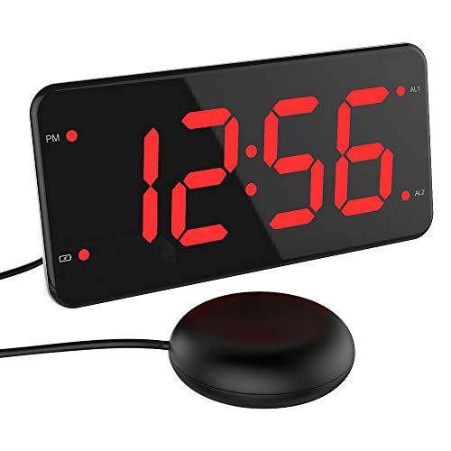 Extra Loud Alarm Clock with Bed Shaker, Vibrating Alarm Clock for Heavy Sleepers, Deaf and Hard of Hearing, Dual Alarm Clock with USB Charger, 7-Inch Display, Full Range Dimmer, Battery Backup - Red