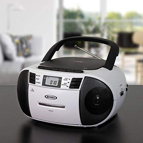 Jensen CD-545MP3 Black/White Top-Loading CD/MP3 AM/FM Radio Cassette Player, and Recorder Boombox Home Audio, Aux, Headphone (Black/Matte White)