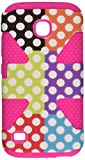 HR Wireless Carrying Case for Huawei Union Y538 - Retail Packaging - Colorful Polka Dots/Hot Pink