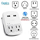 Safest Travel Adapter Kit, Dual USB for iPhone, Chargers, Cell Phones, Laptop Perfect for Travelers by Ceptics - 3.6A with Qc. 3.0 Charge Faster
