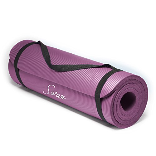 Sivan Health and Fitness 1/2-InchExtra Thick 71-Inch Long NBR Comfort Foam Yoga Mat for Exercise, Yoga, and Pilates (Purple)