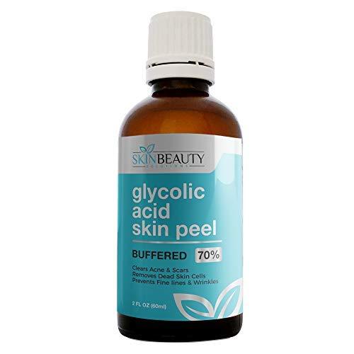 GLYCOLIC Acid 70% Skin Chemical Peel - BUFFERED - Alpha Hydroxy (AHA) For Acne, Oily Skin, Wrinkles, Blackheads, Large Pores,Dull Skin… (4oz/120ml)
