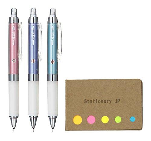 Uni Kuru Toga Auto Lead Rotation Mechanical Pencil Alpha Gel Grip Model 0.5 mm, 3 Color Body (Noble Pink/Lavender/Turquoise), Sticky Notes Value Set
