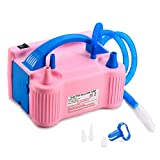 MESHA Portable Dual Nozzle Electric Air Balloon Pump Filler rInflator/Blower for Party Decoration 110V 600W Air Pump (Pink)