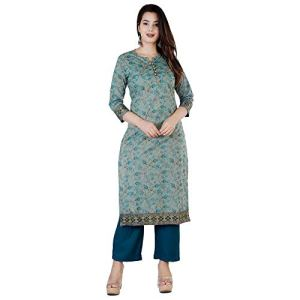 ANNU PARIDHAN Women's Cambric Cotton Printed Casual Wear Straight Kurti and Pant(Green)