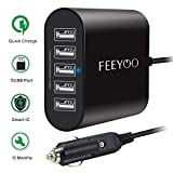 Car Charger, 45W 9A 5-Ports Rapid USB Car Charger (12V/24V) with Smart Identification Compatible iPhone Xs/XS Max/XR/X/8, iPad Pro/Air/Mini, Samsung, Kindle Tablet and All USB Devices - Black