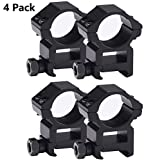 Tenako 4 Pack Scope Rings 1 Inch High Profile Scope Mounts for Picatinny Weaver Rail