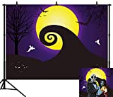 DePhoto 10X8FT(300X240CM) Halloween Backdrop Pumpkin Lantern Yellow Moon Ghost Bat Seamless Vinyl Photography Photo Background Studio Prop PGT274C