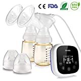 Smibie Double Electric Breast Pump Pain Free - Portable Breast Pumps with 4 Phase Expression Mode and 18 Adjustable Suction Power, Whisper Dual Motor with Rechargeable Battery & PPSU Bottle