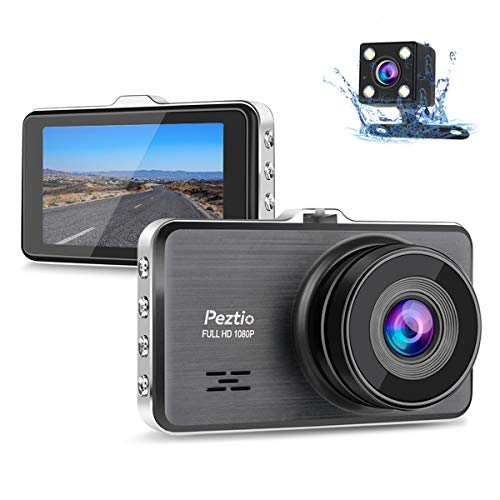 Dual Dash Cam Front and Rear, 1080P Full HD Car DVR Dashboard Camera Recorder with Night Vision, 3 inch IPS Screen, 170 Super Wide Angle, G Sensor, Parking Monitor, Motion Detection, WDR