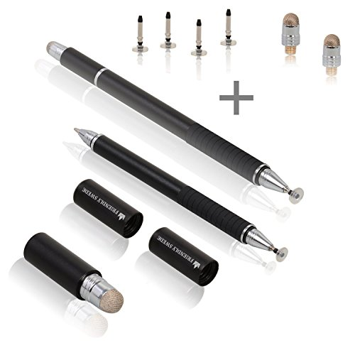 The Friendly Swede 3-in-1 Hybrid Pen, Capacitive Fiber and Fine Point Disc Stylus, with Ballpoint end and Replaceable Tips in Gift Box (2 Pack) (Black)