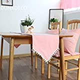 DOCOLA Modern Table Runner with Fringes Solid Color Dustproof Cover Cotton Home Party Decor Fashion Table Flag