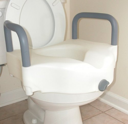Raised Toilet Seat with Arms (White/Aluminum/Black) (22' L x 18' W x 15' H)