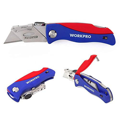 WORKPRO Folding Utility Knife Quick-change Box Cutter, Blade Storage in Handle with 5 Extra Blade Included