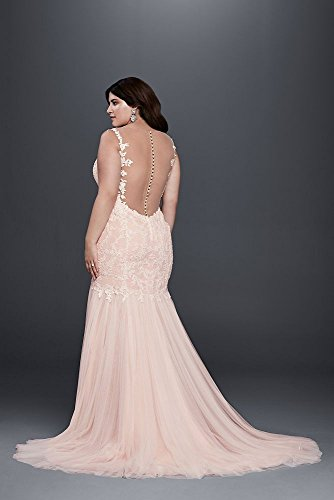 Davids Bridal Beaded Trumpet Plus Size Wedding Dress Style 9swg723