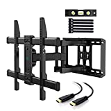 PERLESMITH TV Wall Mount Bracket Full Motion Dual Articulating Arm for Most 37-70 Inch LED, LCD, OLED, Flat Screen, Plasma TVs up to 132lbs VESA 600×400 with Tilt, Swivel and Rotation - PSLFK1
