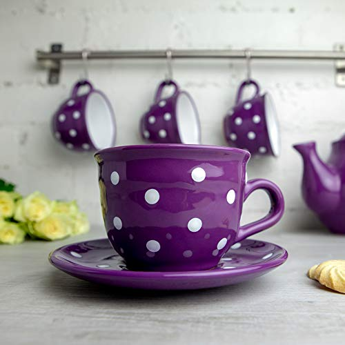 Purple Polka Dot Coffee Tea Cup