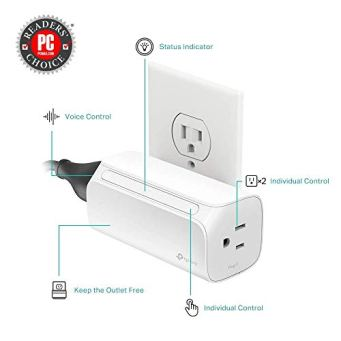 Kasa-Smart-Plug-by-TP-Link-Dual-Outlet-Smart-Home-Wi-Fi-Socket-Works-with-Alexa-Echo-Google-Home-IFTTT-No-Hub-Required-Remote-Control-15-Amp-UL-Certified-HS107