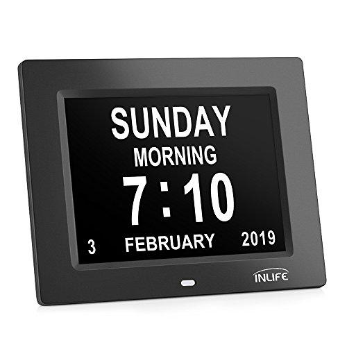 Large Display Digital Calendar Clock,INLIFE Impaired Vision Dementia Day Alarm Clock with 2 Auto-Dim, 8 Alarm Options for Seniors, Elderly, Memory Loss, Alzheimer