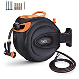 TACKLIFE Hybrid Polymer Hose Reel, 65+7 FT Retractable Garden Hose Reel Wall Mount, Include 8 Patterns Hose Nozzle/Brass Connector/Any Length Lock/Auto Rewind/ 180 Degree Pivot/for Garden Watering