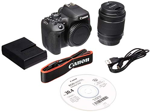 Canon EOS Rebel T6i DSLR Camera with EF-S 18-55mm f/3.5-5.6 is STM Lens - International Version (No Warranty),Black